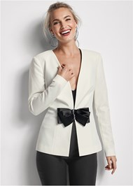 Cropped front view Bow Detail Blazer