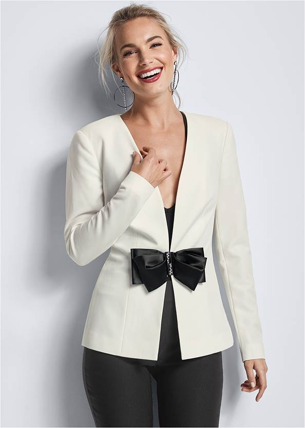 Bow Detail Blazer,Mid Rise Slimming Stretch Jeggings,High Heel Strappy Sandals