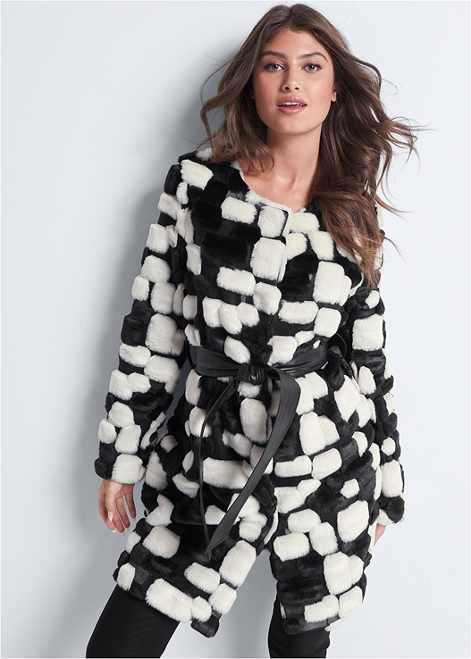 COLOR BLOCK FAUX FUR COAT,SLIMMING STRETCH JEGGINGS