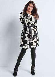 Alternate View Color Block Faux Fur Coat