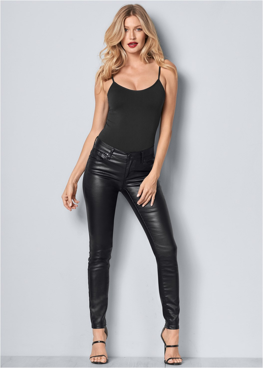 Faux Leather Pants,Seamless Cami,High Heel Strappy Sandals,Block Heels,Beaded Crossbody