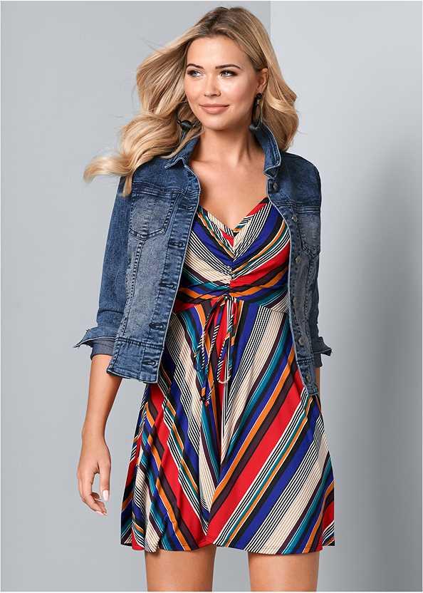 Mixed Stripe Dress,Jean Jacket,Bauble Hoop Earrings