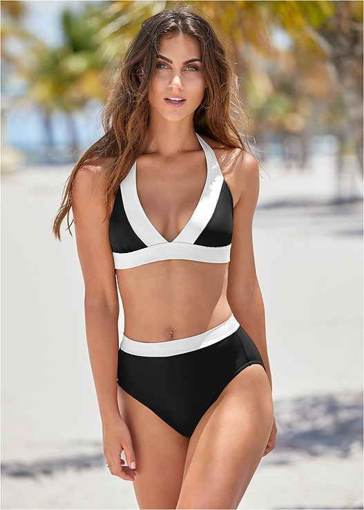 BALI TRIANGLE TOP,VOLLEY HIGH WAIST BOTTOM,MID RISE BOTTOM,COLOR BLOCK MID RISE BOTTOM,MESH SIDE LOW RISE BOTTOM,SHELL STITCH TIE BOTTOM