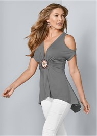 Cropped Front View High Low Embellished Top