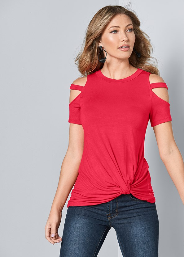 Twisted Knot Detail Top,Mid Rise Color Skinny Jeans,Bauble Hoop Earrings