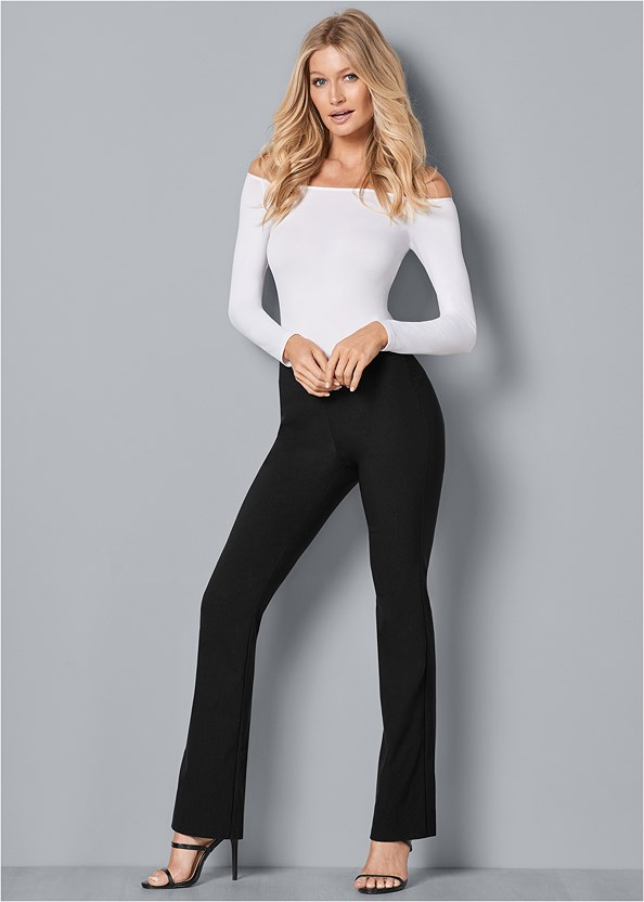 Slimming Pull On Pants,Off The Shoulder Top,Lucite Detail Heels,High Heel Strappy Sandals