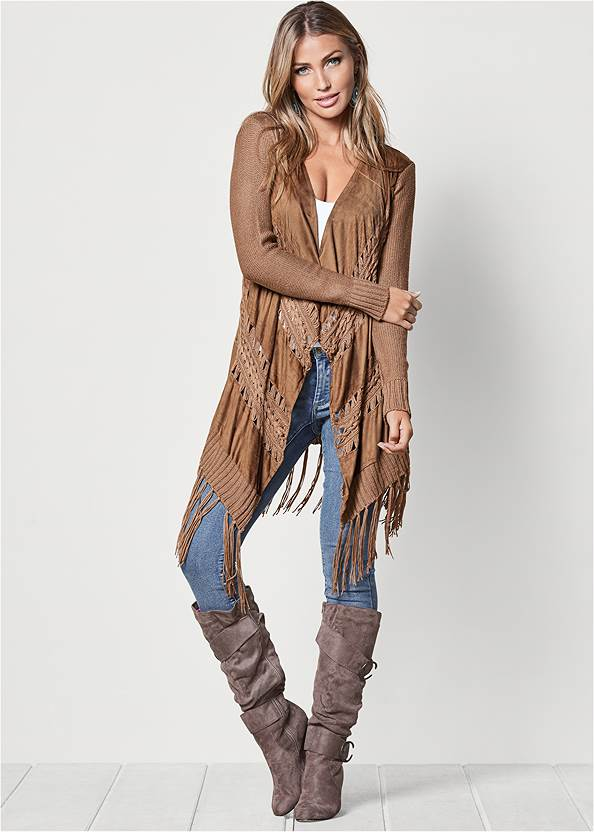 Faux Suede Fringe Cardigan,Basic Cami Two Pack,Mid Rise Color Skinny Jeans,Studded Over The Knee Boots