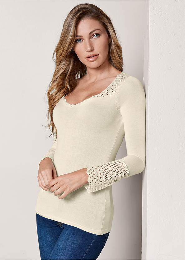 Crochet Detailed Sweater,Mid Rise Color Skinny Jeans,Knotted Slouchy Boots,Gold Statement Heel Boots