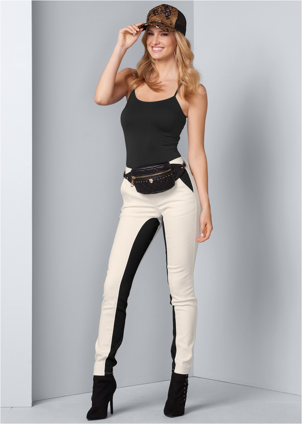 Color Block Pants,Seamless Cami,Quilted Belt Bag,Tiger Detail Earrings