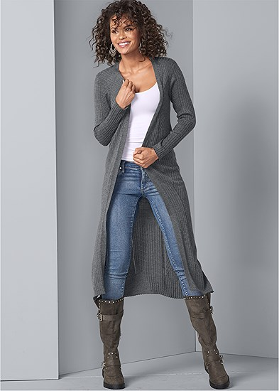 Long Ribbed Duster