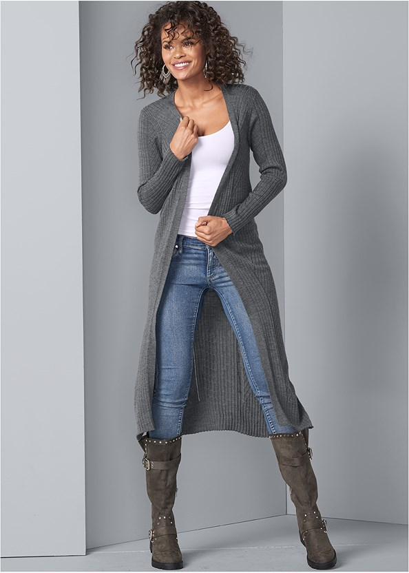 Long Ribbed Duster,Mid Rise Color Skinny Jeans,Sleeveless Ruched Bodycon Midi Dress,Buckle Riding Boots,Medallion Earrings