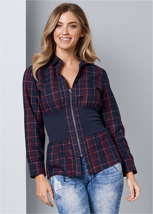 ZIP UP PLAID TOP,ACID WASH JEANS,PUSH UP BRA BUY 2 FOR $40,FRINGE DETAIL BOOTIES