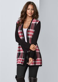 Front View Plaid Cardigan