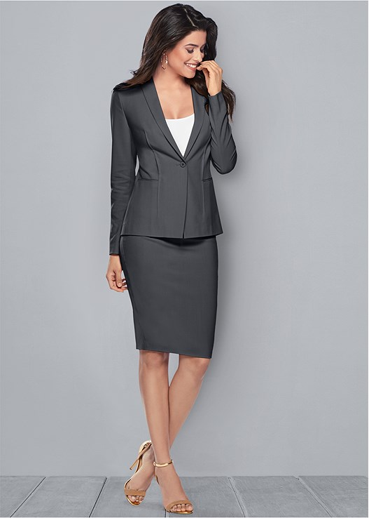 PENCIL SKIRT SUIT SET,SEAMLESS CAMI,HARDWARE DETAIL SANDAL