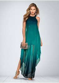 Front view Ombre Glitter Long Dress