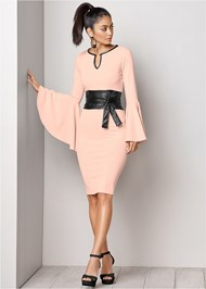 FRONT VIEW Sleeve Detail Belted Dress
