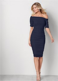 Front View Ruched Mesh Bodycon Dress