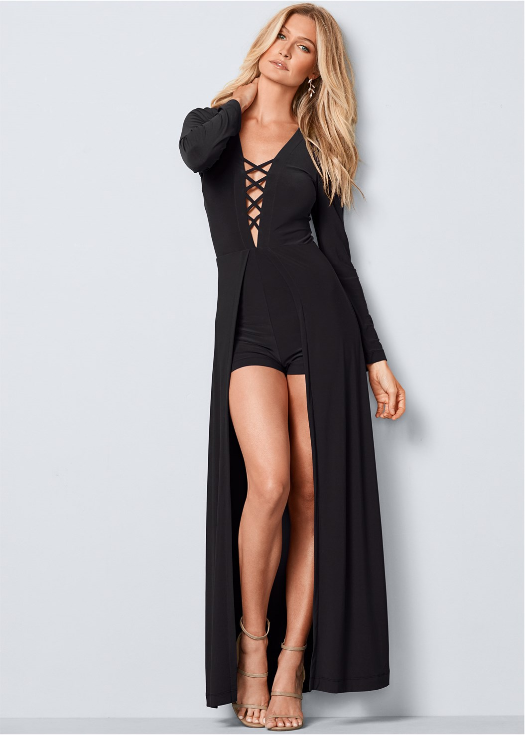 Lace Up Romper,Jewel Fringe Earrings,High Heel Strappy Sandals