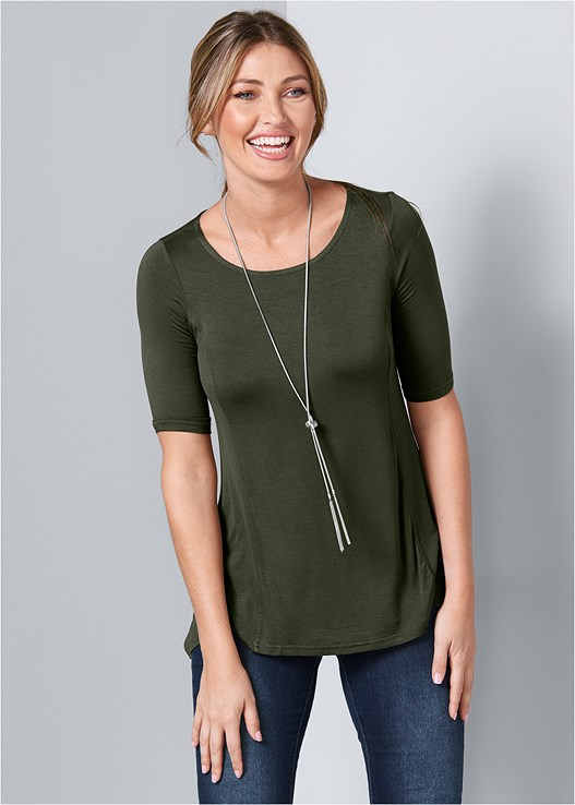 BOAT NECK A-LINE TOP,COLOR SKINNY JEANS,WRAP STITCH DETAIL BOOTIES