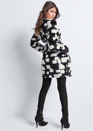 Back View Color Block Faux Fur Coat