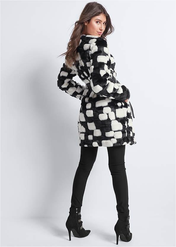 Back View Color Block Faux Fur Coat