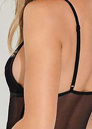 Detail back view Sheer Strapped Up Bodysuit