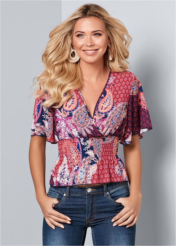 Smocked Surplice Print Top,Color Skinny Jeans,Mixed Earring Set