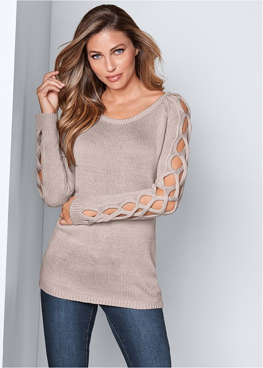 SLEEVE DETAIL TUNIC SWEATER,KISSABLE STRAPPY LACE BRA,COLOR SKINNY JEANS,WRAP STITCH DETAIL BOOTIES