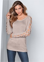 sleeve detail tunic sweater