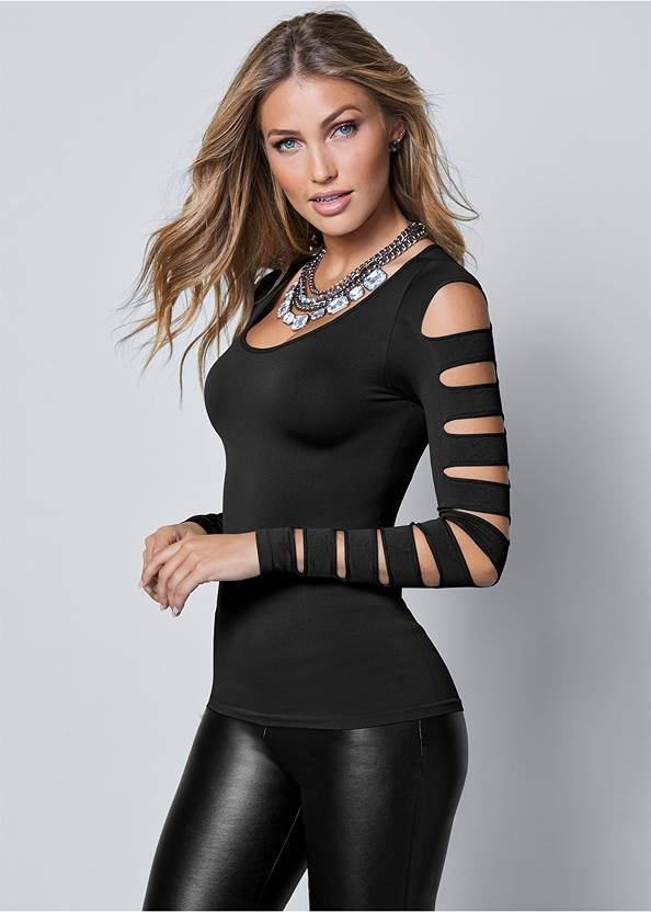 Cut Out Long Sleeve Top,Slouchy Mid-Calf Boot