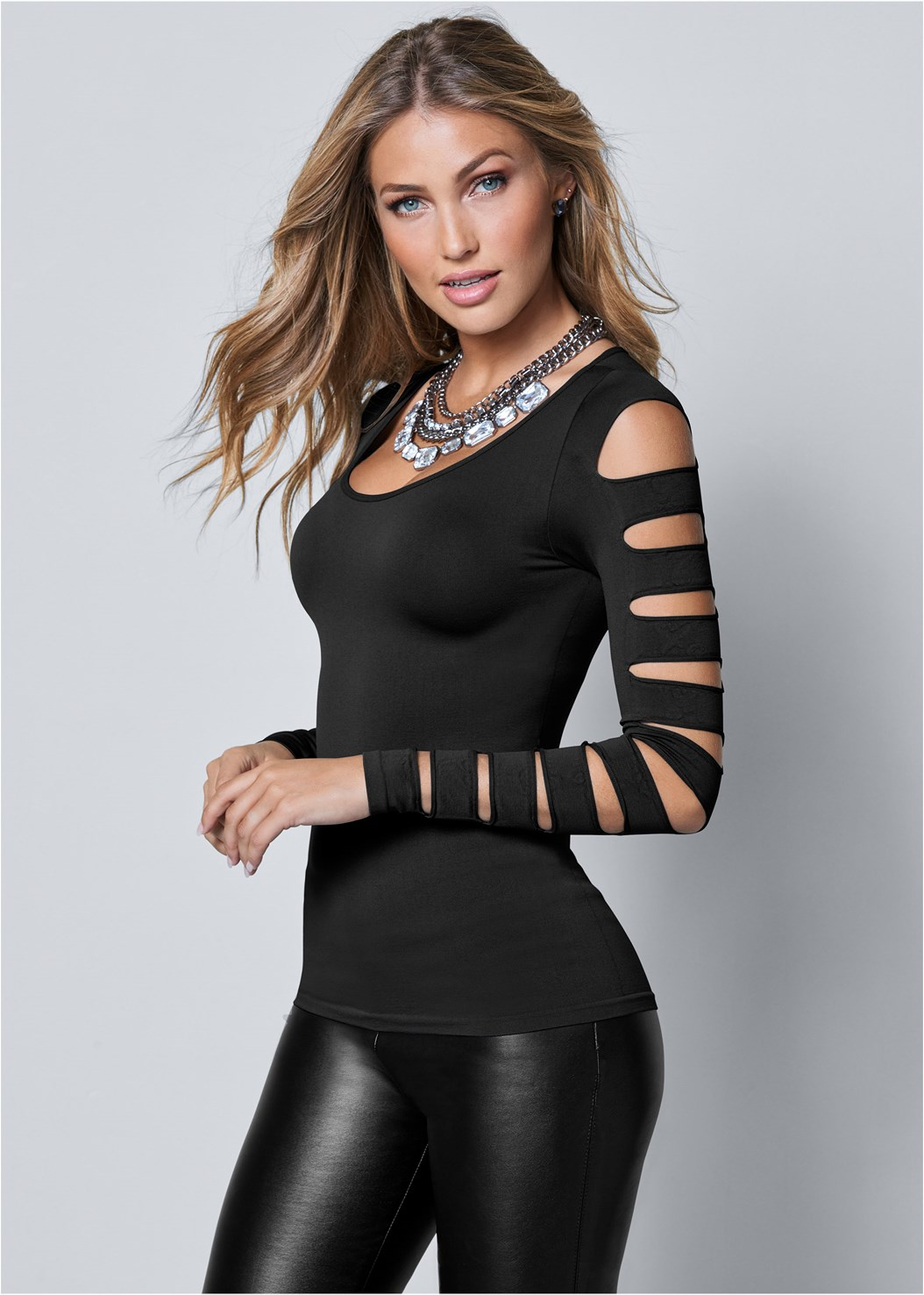 Cut Out Long Sleeve Top,Faux Leather Lace Up Shorts,Slouchy Mid-Calf Boot,Block Heel Boots