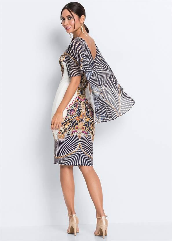 Back View Cape Detail Bodycon Dress