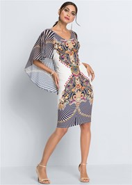 Full  view Cape Detail Bodycon Dress