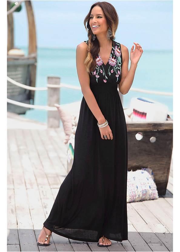 V-Neck Maxi Dress,Push Up Bra,Woven Handbag