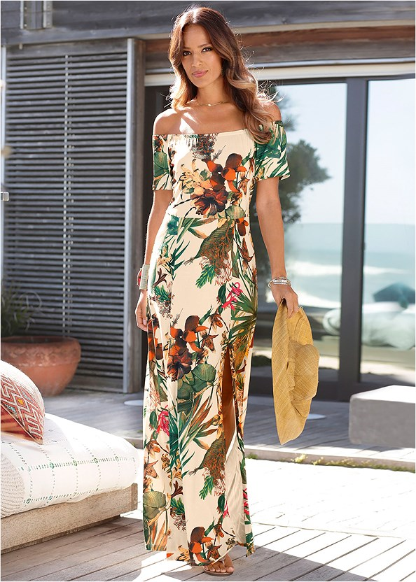 Off The Shoulder Maxi Dress,Tassel Earrings