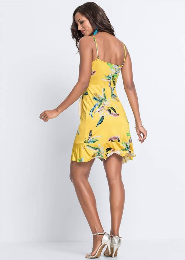 Back View Ruffle Detail Printed Dress