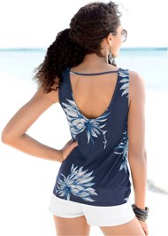 Full  view Open Back Floral Top