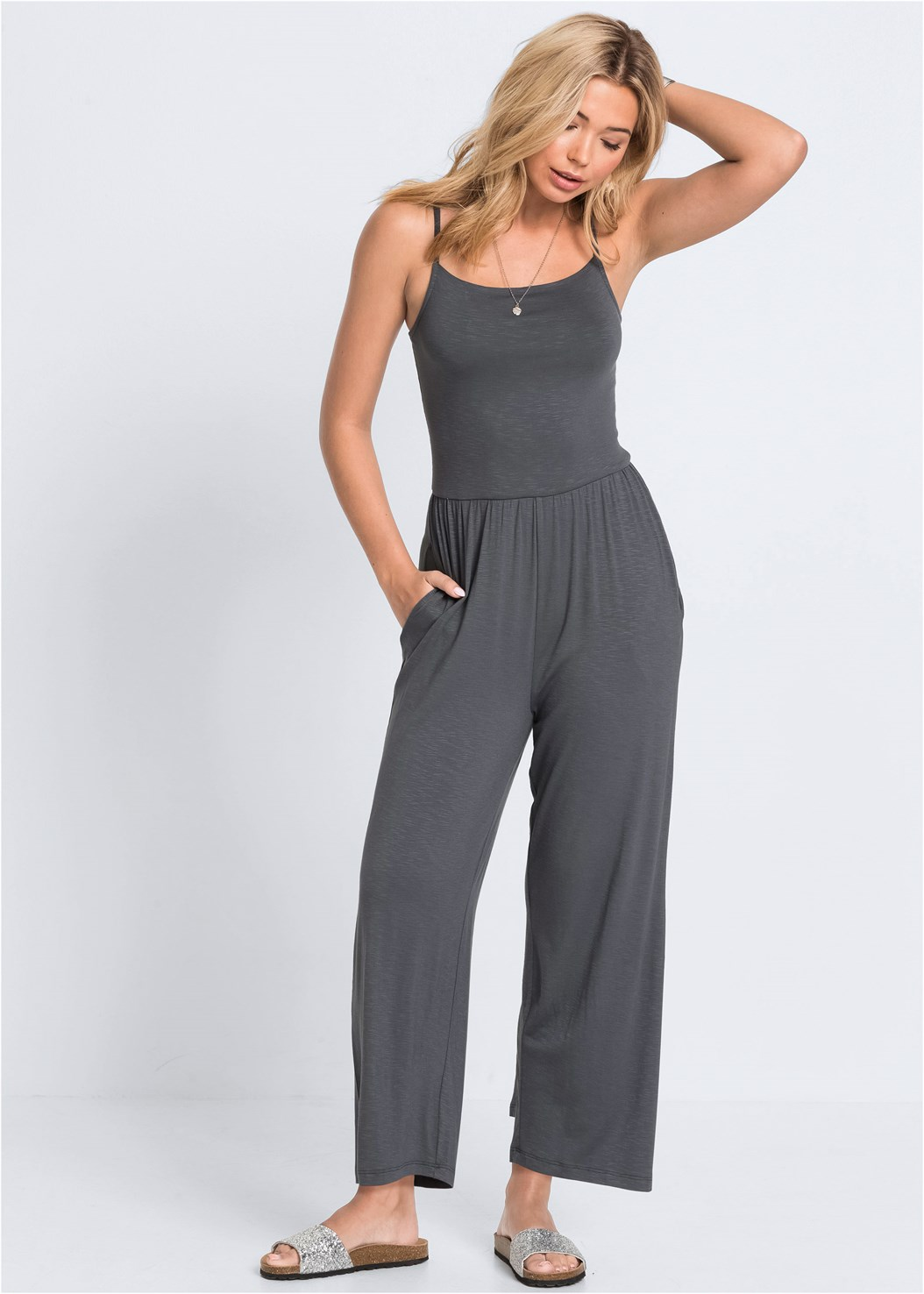 Casual Jumpsuit,Everyday You Strapless Bra,Embellished Slides