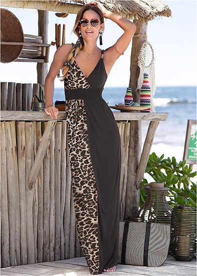 Leopard Detail Maxi Dress