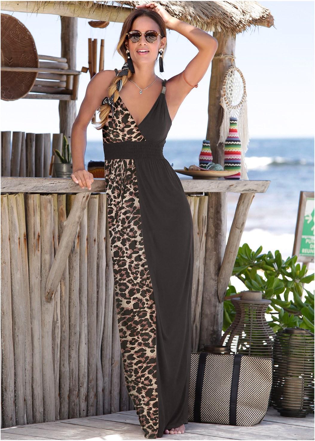 Leopard Detail Maxi Dress,Push Up Bra Buy 2 For $40,Hoop Earrings