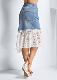 Alternate View Lace Trim Denim Skirt