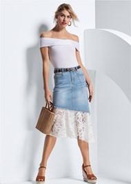 Front View Lace Trim Denim Skirt