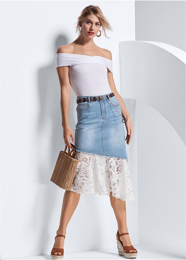 Lace Trim Denim Skirt,Off The Shoulder Bodysuit,Embellished Wedges,Wooden Handbag