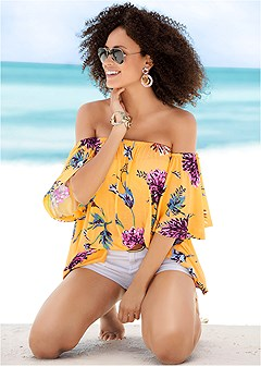 bold floral printed top