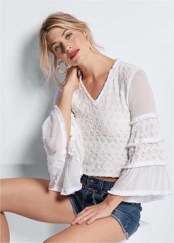 Smocked Bell Sleeve Top,Frayed Cut Off Jean Shorts,Embellished Wedges,Chain Belt,Wooden Handbag