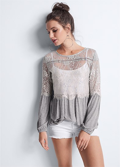 Sheer Lace Detail Top
