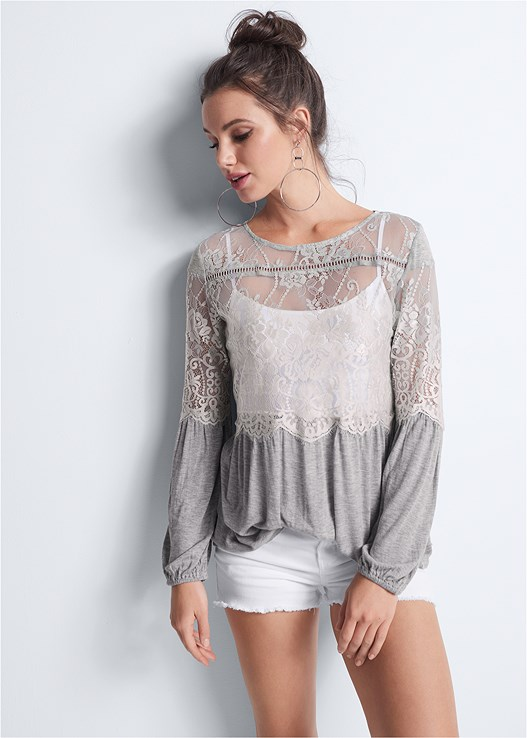 SHEER LACE DETAIL TOP,SEAMLESS CAMI,CUT OFF JEAN SHORTS,NAKED T-SHIRT BRA,WOVEN BEADED CLUTCH