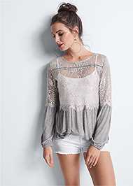 Detail front view Sheer Lace Detail Top