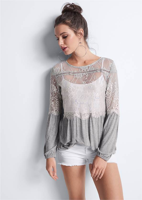 Sheer Lace Detail Top,Basic Cami Two Pack,Frayed Cut Off Jean Shorts