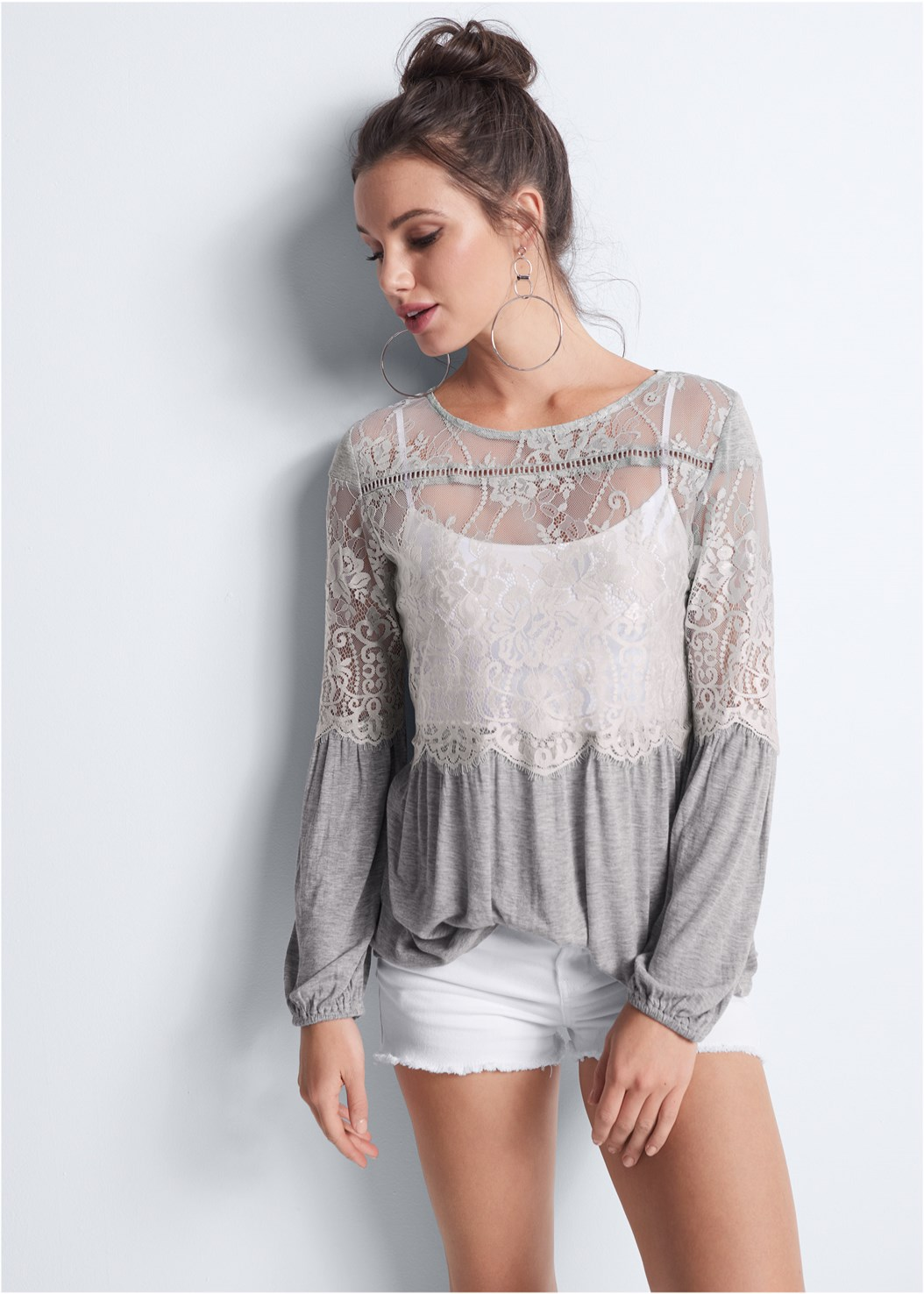 Sheer Lace Detail Top,Basic Cami Two Pack,Frayed Cut Off Jean Shorts,Naked T-Shirt Bra